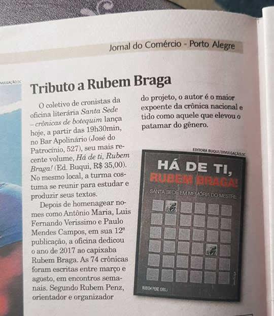 Santa Sede lança Há de Ti, Rubem Braga – Jornal do Comércio